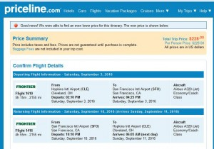 Cleveland-San Francisco: Priceline Booking Page