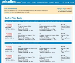 Cleveland-Shanghai: Priceline Booking Page (Thanksgiving)