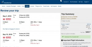 Cleveland-Shanghai: Travelocity Booking Page