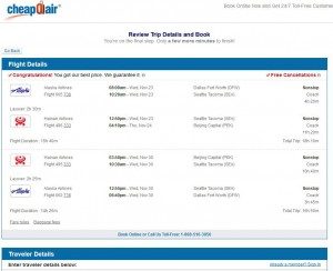 Dallas-Beijing: CheapOair Booking Page