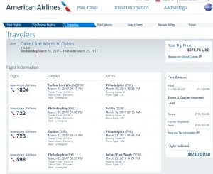 Dallas-Dublin American: Airlines Booking Page