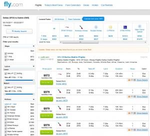 Dallas-Dublin: Fly.com Search Results