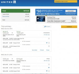 Dallas-Ho Chi Minh City: United Airlines Booking Page