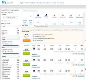 Dallas-Hong Kong: Fly.com Search Results