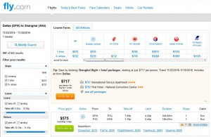 Dallas-Shanghai: Fly.com Search Results