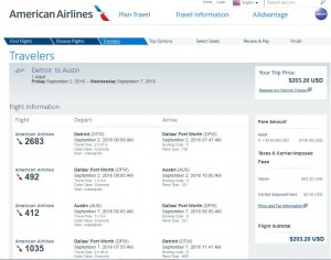 Detroit-Austin: American Airlines Booking Page