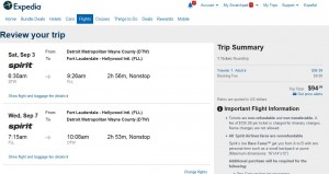 Detroit-Fort Lauderdale: Expedia Booking Page ($95)
