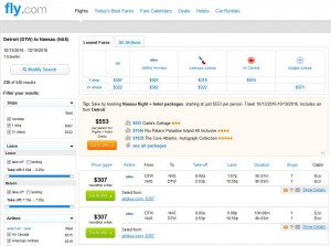 Detroit-Nassau: Fly.com Search Results ($307)
