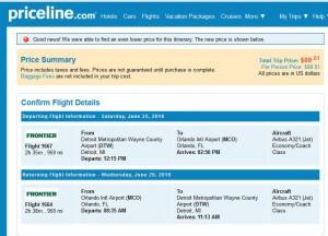Detroit-Orlando: Priceline Booking Page