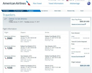 Detroit-San Antonio: American Airlines Booking Page