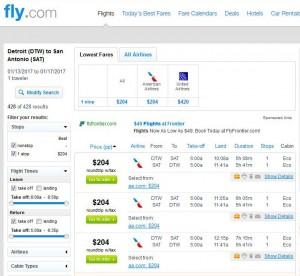 Detroit-San Antonio: Fly.com Search Results