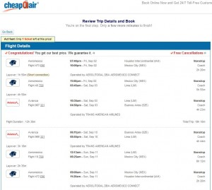 Houston-Buenos Aires: CheapOair Booking Page ($724)
