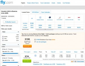 Houston-Buenos Aires: Fly.com Search Results ($724)