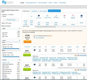Houston-Buenos Aires: Fly.com Search Results ($737)
