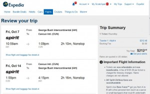 Houston-Cancun: Expedia Booking Page