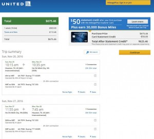 Houston-Ho Chi Minh City: United Airlines Booking Page