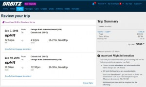 Houston-Orlando: Orbitz Booking Page