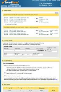 Houston-Rome: SmartFares Booking Page