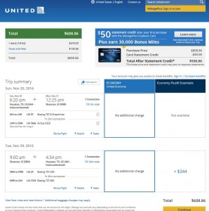 Houston-Shannon: United Airlines Booking Page