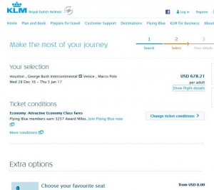 Houston-Venice: KLM Booking Page