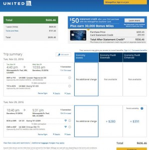 Minneapolis-Barcelona: United Airlines Booking Page