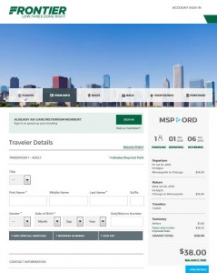 Minneapolis-Chicago: Frontier Airlines Booking Page