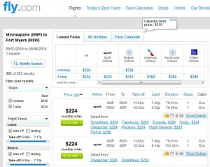 Minneapolis-Fort Myers: Fly.com Search Results ($224)