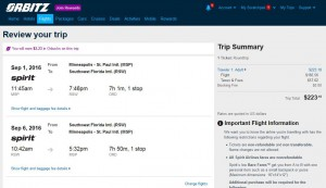 Minneapolis-Fort Myers: Orbitz Booking Page ($224)