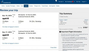 Minneapolis-Fort Myers: Travelocity Booking Page