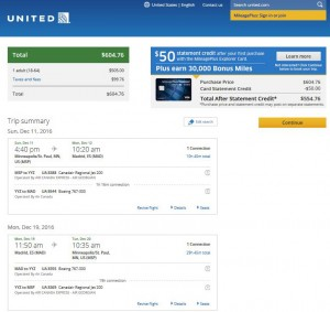 Minneapolis-Madrid: United Airlines Booking Page