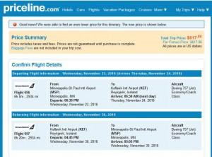 Minneapolis-Reykjavik: Priceline Booking Page