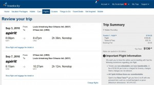New Orleans-Chicago: Travelocity Booking Page