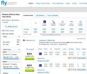Phoenix to NYC: Fly.com Results