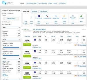 San Antonio-Dublin: Fly.com Search Results