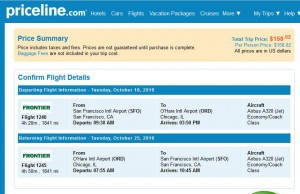 San Francisco-Chicago: Priceline Booking Page