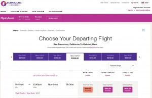 San Francisco to Maui: Hawaiian Booking Page