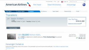 Boston to Miami: AA Booking Page