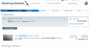 NYC to Dublin: American Airlines Booking Page