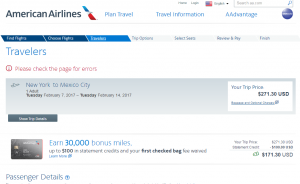 NYC to Mexico City: AA Booking Page