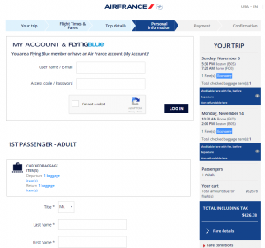 Boston to Rome: Air France Booking Page