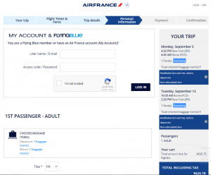 NYC to Rome: Air France Booking Page