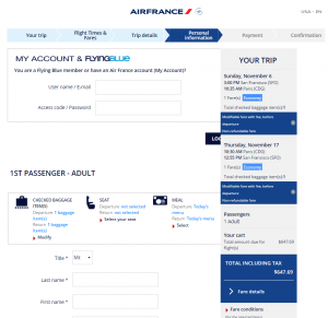 SF to Paris: Air France Booking Page