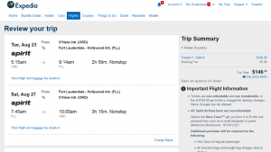 Chicago to Fort Lauderdale: Expedia Booking Page