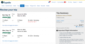 Denver to Miami: Expedia Booking Page