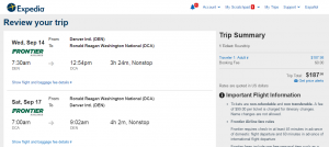 Denver to D.C.: Expedia Booking Page