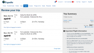 Dallas to Ft Lauderdale: Expedia Bookings Page