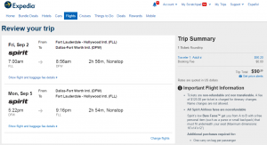 Ft Lauderdale to Dallas: Expedia Booking Page