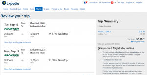 Miami to NYC: Expedia Booking Page