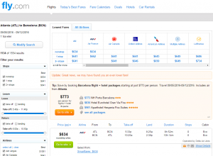 Atlanta to Barcelona: Fly.com Results Page