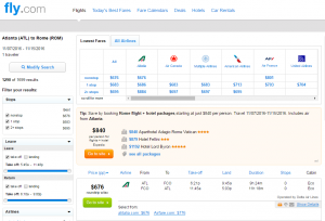 Atlanta to Rome: Fly.com Results Page